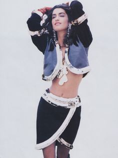 """""""French tailoring meets Liberace,"""" is how Vogue described this Yves Saint Laurent suit worn by Yasmeen Ghauri."""