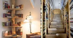 23 Creative Bookshelves You'll Want In Your Future Home Creative Bookshelves, Bed Photos, Book Lovers, Ladder Decor, Bookcase, Yard, Living Room, Future, Cool Stuff