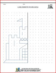 Line Symmetry Picture with one line of symmetry, third grade geometry worksheet - en allerlei andere niveaus op de site!