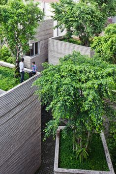 Trees grow on the rooftops of this Vietnamese house.