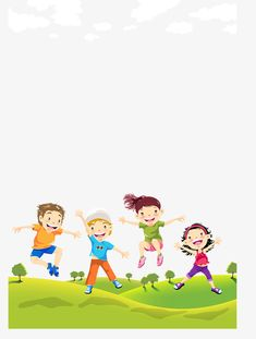 Children on the lawn PNG and Vector