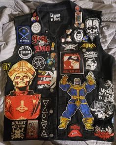 Combat Jacket, Battle Jacket, Crust Punk, Punk Jackets, Season Of The Witch, Jean Vest, Punk Goth, Slipknot, Pin And Patches