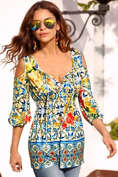 2017 Spring Collection | Women's Floral Print Cold Shoulder Smocked Top by Boston Proper.