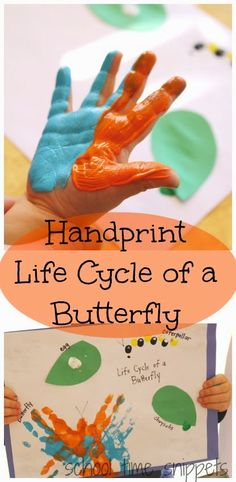 School Time Snippets: Handprint Life Cycle of a Butterfly. Pinned by SOS Inc. Resources. Follow all our boards at pinterest.com/sostherapy/ for therapy resources.