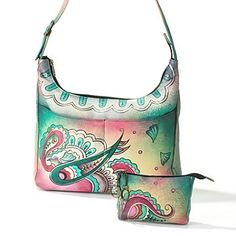 706-275 - Anuschka Hand-Painted Leather Hobo with Top Zip Key/Coin Purse