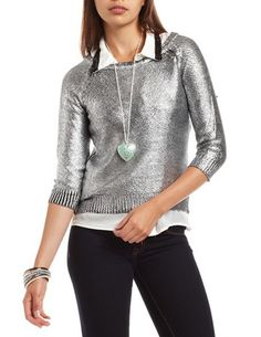 3/4 Sleeve Foiled Sweater: Charlotte Russe   $26.99   Size: M or L