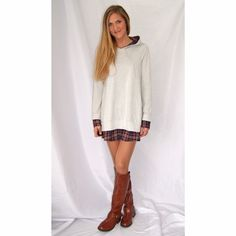 Cream sweater dress with built in flannel liner This sweatshirt dress is so cute and unique! Built in flannel selves, short tail, and plaid interior good! Great with leggings and skinny jeans too! Nice big pockets on the front Dresses Long Sleeve