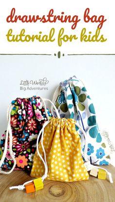 Sewing For Kids Gifts Drawstring bag tutorial for kids. Sewing Lessons, Sewing Class, Sewing Hacks, Sewing Tutorials, Sewing Tips, Sewing Ideas, Drawstring Bag Diy, Drawstring Bag Tutorials, Drawstring Bag Pattern
