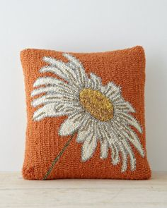 Floral Hooked Wool Pillow Cover