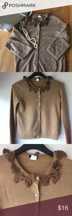 Camel J Crew Bow Necklace Sweater Very cute camel colored cardigan. Faint pulling on bottom side of sleeves. Gently worn. J. Crew Sweaters Cardigans