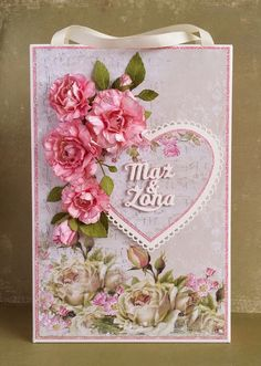 Papierowe chwile zielonejliszki, gift bag with heart and pink paper flowers