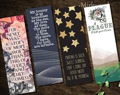 Romeo & Juliet Bookmarks |  Set of 4 Printable Romeo and Juliet Bookmarks |  Shakespeare Quotes |  English Teacher Gift |  Literary Gift