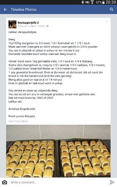 Vleispasteitjies Kos, Quiches, Ma Baker, Good Food, Yummy Food, Recipe Filing, South African Recipes, Savoury Baking, Savory Snacks