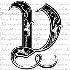 LETTER Initial V Monogram Old ENGRAVING Style Type by Graphique