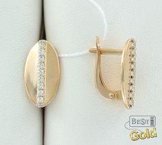 Золотые серьги с фианитами 45612А