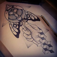 Moth and a magnifying glass for the back of a calf of a shin maybe? Binttt@hotmail.co.uk if you're interested! :) #tattoo#tattoos#moth#dotwork#geometry#bint