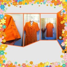 REDUCEDorange button up front pleat coat dress Worn once to a brunch. Beautiful simple a classic . Buttons encased in silver. Two front flaps with silver links attached  6 front buttons. Shirt rollup sleeve with silver buckle. Fully lined. 100% polyester and 100% acetate lining. Ben Marc Dresses