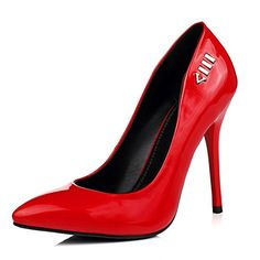 Pumps Mary Jane  BalaMasa Girls Metal Ornament Stiletto Red Patent Leather PumpsShoes  75 BM US *** Find similar products by clicking the VISIT button