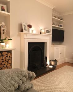 Trying to see where is best to put the tv in a small lounge and fire place New Living Room, Living Room Interior, Home And Living, Cosy Living Room Small, Alcove Ideas Living Room, Country Style Living Room, Room Ideas, Wall Ideas, Small Living