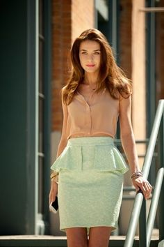 love. love. love. mint green skirt. camel colored blouse.