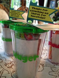 Silhouette cameo project personalized teacher appreciation gift water tumblers filled with candy, mints, flavored water packets, sharpies, Starbucks gift cards