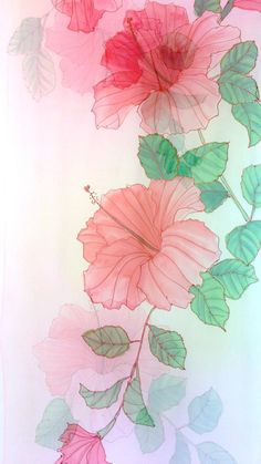 Hand Painted Silk Shawl Gift for her Pastel Pink and Green Flower Wallpaper, Iphone Wallpaper, Cool Pictures Of Nature, Silk Shawl, Stencils, Hand Painted, Painted Silk, Embroidery Art, Fabric Painting