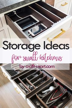 Clever Storage Ideas for Small Kitchens - well-organized drawers with space for every kitchen tool Kitchen Storage Hacks, Small Kitchen Organization, Kitchen Cabinet Storage, Home Organization Hacks, Organising Tips, Pantry Organization, Kitchen Pantry, Organizing Ideas, Modern Farmhouse Kitchens