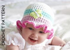 Baby girl crochet pattern for a ruffle edge sunhat with butterfly embellishment.THE CROCHET RUFFLES SUN HAT PATTERN (not the actual item)This pretty little baby hat is just so sweet and girlie, crocheted in a great quality 100% cool cotton yarn in beautiful summer ice-cream colours! Just right for keeping your littleones head covered in the summer months! Cotton crochet is perfect for summer hats and babies with sensitive skin.Pdf instant download. Written in US English crochet…