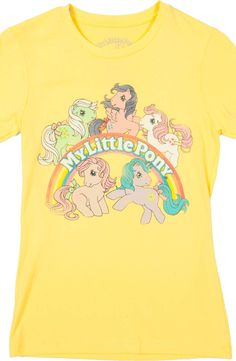 Yellow My Little Pony Shirt featuring Minty, Firefly, Sundance, Peachy, and Princess Sparkle.
