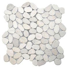 Sliced White Pebble Tile x - River Rock Stone Tile Shower Floor Tile, Bathroom Floor Tiles, Bathroom Colors, Bathroom Sets, Small Bathroom, Master Bathroom, Handicap Bathroom, Tile Bathrooms, Zen Bathroom