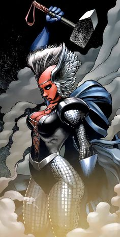 Storm - Ororo Munroe is the descendant of an ancient line of African priestesses, all of whom have white hair, blue eyes, & the potential to wield magic. Storm remained with the X-Men for years. After serving with the team for many years, Storm was appointed leader of the team following the departure of former leader, Cyclops, after the apparent death of Jean Grey.