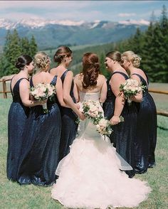 """Mountain air and sparkling blue in our navy sequin """"Solange"""" gowns! Amsale Bridesmaid, Green Bridesmaid Dresses, Wedding Dresses, Blue Wedding, Wedding Colors, Real Weddings, Wedding Inspiration, Sequins, Gowns"""