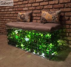 gabion filled with wine bottles to create a seat http://www.gabion1.com