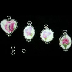 1930s+China+Floral+Pendants+in+Silver+Plate, $58.00