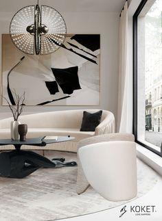 Contemporary Sofa, Contemporary Interior Design, Luxury Sofa, Luxury Living, Modern Living, Interior Design Elements, Interior Decorating Styles, Curved Sofa, Floor Design