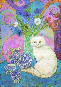 Floral batik artwork by UK batik artist Marina Elphick, specialist at batik portraiture and other figurative artwork. Flowers in batik.