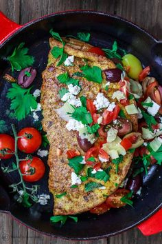An especially satisfying omelette recipe! Super airy and fluffy, and loaded with Mediterranean favorites like fresh herbs, tomatoes, feta, olives and more! You can even turn this into lunch or a simple dinner for two. Mediterranean Omelette Recipe, Mediterranean Dishes, Mediterranean Diet Recipes, Vegetarian Recipes Easy, Good Healthy Recipes, Clean Eating Recipes, Healthy Eating, Vegetarian Food, Vegan Food