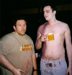 "From the set of ""Shaun of the Dead,"" Nick Frost and a half-naked dead Peter Serafinowicz."