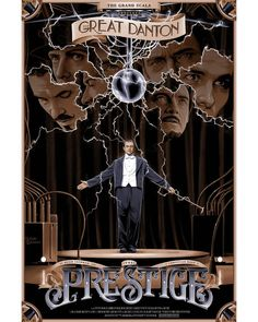 """Are you watching closely. 🎩🐰✨ """"The Prestige"""" AMP by Chris Koehler The Prestige Movie, Le Prestige, Movie Poster Art, Film Posters, Dog Soldiers, A Wrinkle In Time, Screen Print Poster, Meet Girls, Alternative Movie Posters"""