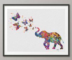 Elefante de rociadura mariposa arte imprimir acuarela por CocoMilla
