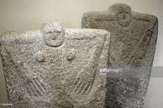 Anthropomorphic stone stelae or statue menhirs, located in Yamna secondary graves. Yamna Culture. Late Copper Age - Early Bronze Age. 36th-23rd centuries BC. Kerch Historical and Archaeological Museum. Autonomous Republic of Crimea. Ukraine.