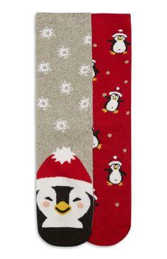 Huissokken met pinguïnmotief, 2 paar