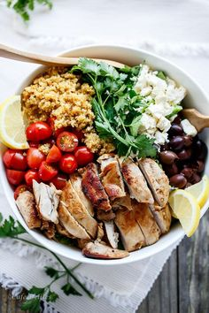 Balsamic Chicken Salad with Lemon Quinoa | sub/delete onion & garlic and use greens of salad onions and garlic oil instead to make low fodmap http://cafedelites.com