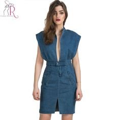 Women Denim Bodycon Dresses Sleeveless Summer Autumn Deep V Neck Casual with Pockets Split Front Sexy Midi Vintage Dress