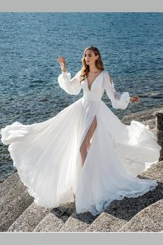 Boho Long Sleeves Wedding Dress for Seaside High Slit Side - This is a made-to-order product. This cool summer wedding gown features a classic V neckline with - Summer Wedding Gowns, Long Wedding Dresses, Wedding Dress Sleeves, Bridal Dresses, Lace Dress, Wedding Shoes, Boho Dress, Dress Long, Fall Wedding