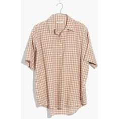 MADEWELL Courier Side-Button Shirt in Gingham Check ($70) ❤ liked on Polyvore featuring tops, earthen sand, pink tops, shirt top, oversized tops, pink oversized shirt and pink gingham shirt