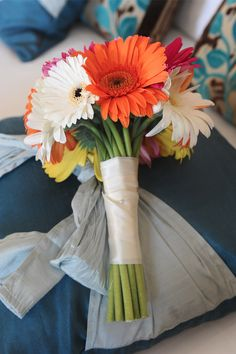 Gerbera wedding bouquet http://goodbyemiss.com/wedding/clare-peters-wedding-by-elaine-kennedy-photography