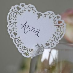 Lace Heart Place Name Card For Glass - Set Of 10