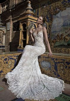 spaghetti strap fully embroidered wedding dress via alon livne / http://www.himisspuff.com/top-100-wedding-dresses-2017-from-top-designers/