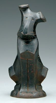 Ahhh! What a fun and versatile piece! This cast iron Art Deco dog was sold in March of 2006.